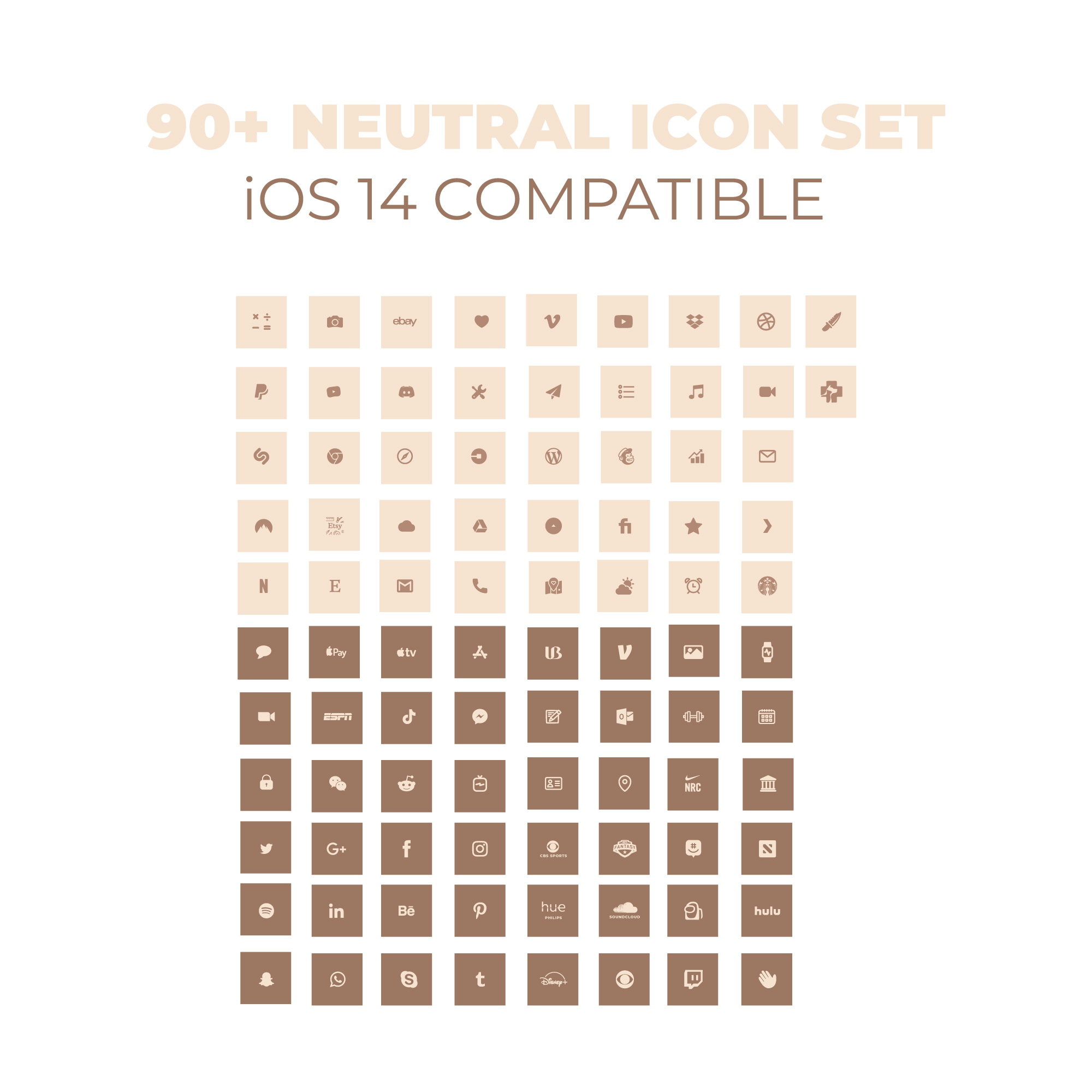 Ios 14 Aesthetic Neutral Browns Fall Premium Icon Pack Ios